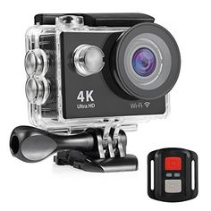 Nexgadget 4K WIFI Action Camera EXPLORER4 Series Waterproof DV Camcorder 12MP 170 Degree Wide Angle with 24G Remote Control for action sports camera 2 Rechargeable Batteries *** Read more at the image link.