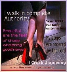 I walk in complete authority. I crush the enemy. Sayings. Word of God. Virtuous Woman, Godly Woman, Women Of Faith, Strong Women, Christian Women, Christian Quotes, Christian Life, Encouragement, Daughters Of The King
