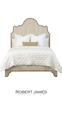 Sanibel Bed by ROBERT JAMES COLLECTION. Coming to @HighPointMarket April 2015.  INTERHALL IH501 #hpmkt #hpmktSS Adorned with nail heads in luxurious HANDMADE detail.