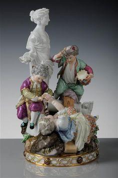 """The Swing"" (two boys and a girl gestürztes)  Acier, Michel Victor (modeller)  Meissen in 1777,"