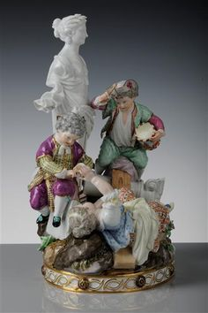 """The Swing"" (two boys and a girl gestürztes)  Acier, Michel Victor (modeller)  Meissen in 1777,"