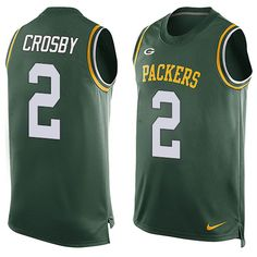 Men's Nike Green Bay Packers #2 Mason Crosby Limited Green Player Name & Number Tank Top NFL Jersey