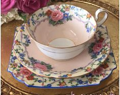 Beautiful Vintage AYNSLEY trio, Tea Cup, Saucer and Tea Plate.