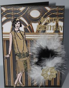 Jettescraftcorner: Art Deco Birthday Card Used Materials: - Black D. Design Art, Birthday Cards, Art Deco, Stamp, Black, Bday Cards, Anniversary Cards, Black People, Stamps