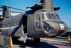 The silhouettes of helicopters on the side of this Chinook represent the number of aircraft recovered.