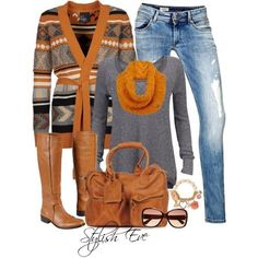 Casual tribal print and jeans for the fall with boots! (Stylish Eve)
