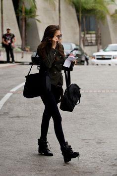 All black. Nina Dobrev street style. ♥