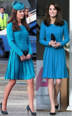 Emilia Wickstead Dress in Teal from Kate Middleton's Recycled Looks  During a December 2015 visit to the Action on Addiction charity's Center for Addiction Treatment Studies,theDuchess of Cambridge wore ateal, over-the-knee, long sleeveEmilia Wickstead dress with a pleated skirt. She had worn the same outfit in 2014, during a visit totheCathedral Church at St. Paul in Dunedin, New Zealand. Kate wore the dress in pastel pink twice in 2012.