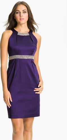 Embellished Trim Satin Sheath Dress