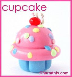 Polymer Clay Pink Cupcake Charm by CharmthisClayCharms on Etsy, $3.00