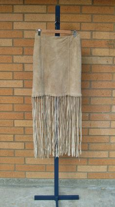 SALE Vintage taupe suede fringe skirt   by by FreestyleCollection, $17.00