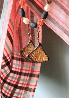 Hand-gilded 'Ginkgo Leaf' leather earrings by SassafrasFox on Etsy