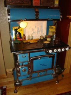Antique Stove   Blue Enamel Quick Meal Cookstove. Combination wood and gas.