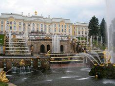 Grand Cascade in Peterhof, a popular tourist destination in Saint Petersburg