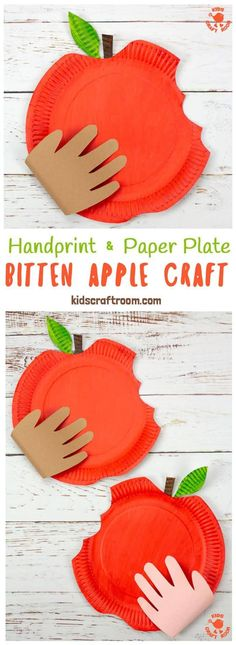 HANDPRINT AND PAPER PLATE BITTEN APPLE CRAFT – This easy apple craft for kids is so fun to make this apple season. Who could resist taking a bite out of a big red juicy apple like that? A fun Fall craft to celebrate harvest time. Easy Arts And Crafts, Autumn Crafts, Fall Crafts For Kids, Craft Activities For Kids, Toddler Crafts, Preschool Crafts, Projects For Kids, Harvest Crafts For Kids, Apple Art Projects