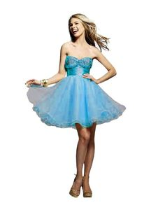 Clarisse Short Baby Doll Prom or Homecoming Dress 9031, Turquoise, 6