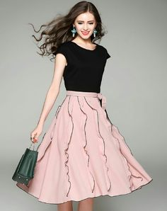 Pink & Black Cap Sleeve Laced Hem Swing Dress I found this beautiful item on VIP.com. Check it out!