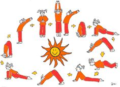sun salutation kids yoga poster