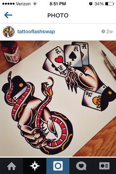 the hand holding the cards for my traditional tattoo sleeve