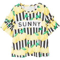 MANGO Lemons ruffles t-shirt (€32) ❤ liked on Polyvore featuring tops, t-shirts, flutter sleeve top, striped t shirt, striped sleeve t shirt, flounce tops and ruffle sleeve top