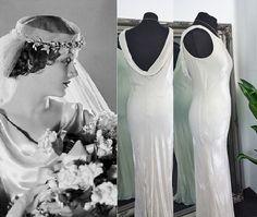 Cowl Wedding Dress, Art Deco Wedding Dress, Gatsby Wedding Dress, Vintage Style Wedding Dresses, Elopement Dress, 1930s Style, Vintage Velvet, Hollywood Glamour, Elegant Wedding