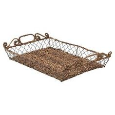 """Woven abaca and wire serving tray with side handles and scrolling accents.   Product: Serving trayConstruction Material: Abaca wood and wireColor: BrownDimensions: 18.5"""" W x 12"""" DCleaning and Care: Hand wash"""