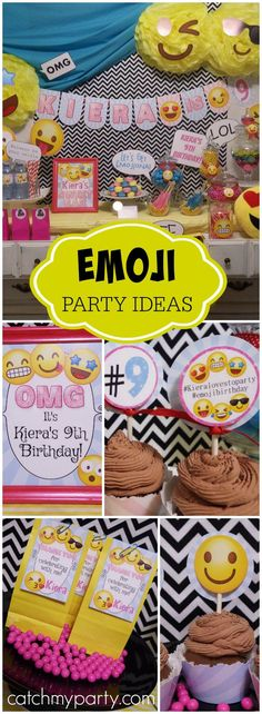 "What a fun theme for a birthday party -- emojis! See more party ideas at <a href=""http://Catchmyparty.com"" rel=""nofollow"" target=""_blank"">Catchmyparty.com</a>!"
