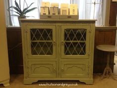 Hutson and Grey - Display Cupboard hand-painted in a mix of Chateau Grey and Paris Grey Chalk Paint™