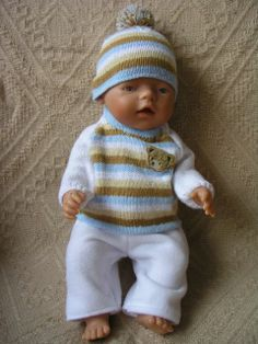 For Baby Born Knitting Dolls Clothes, Knitted Dolls, Doll Clothes Patterns, Doll Patterns, Clothing Patterns, Baby Born Clothes, Bitty Baby Clothes, Baby Knitting, Crochet Baby