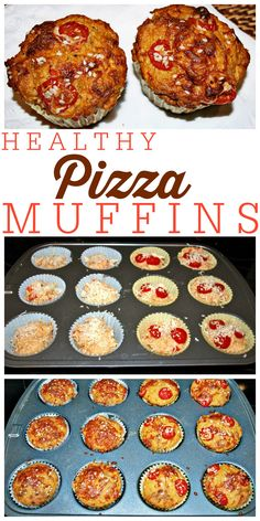 These Healthy Pizza Muffins are great for school  lunches, snacks, or anytime you need a portable bite to eat! A great healthy and kid-friendly recipe idea.  Gotta love a muffin that makes a meal! My family loves these.