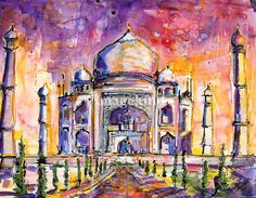 Taj Mahal India Watercolor by Ginette Callaway