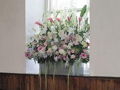 MAIA - Creams and Greens Wedding church window flower arrangement