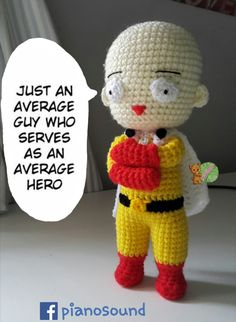 Saitama - One punch man amigurumi free pattern I was really excite while making . : Saitama – One punch man amigurumi free pattern I was really excite while making this video tutorial. Cactus Amigurumi, Mini Amigurumi, Amigurumi Animals, Amigurumi Doll, Crochet Doll Pattern, Crochet Patterns Amigurumi, Crochet Dolls, Amigurumi Tutorial, Saitama One Punch Man