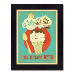Quadro Ice Cream Vintage com Moldura em Madeira - 48x38 cm | Carro de Mola - Decorar faz bem.