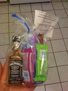 Gift for nursing student.     Given prior to exit HESI:  Small bottle of booze for the nerves, a few sweets to stimulate the brain, a granola bar for those dummies who forgot to eat breakfast, and a package of tissues for (hopefully) happy tears. by carmella