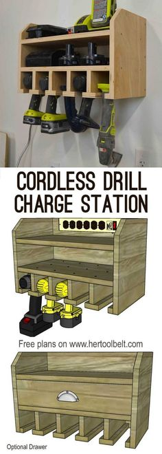 Organize your tools, free plans for a DIY cordless drill storage and battery charging station. Optional drawer is great for drill bit storage.