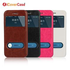 Coque for iPhone SE Cover Window View Case Flip Leather Fundas for iPhone 5 5s 7 6 6s Plus Huawei P8 Lite Nexus 6P Sony M4 Aqua