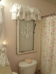 Shabby Chic Window Treatment for Bathroom Decor.