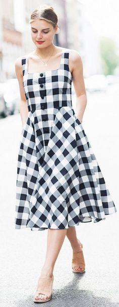 Black And White Check Retro Dress
