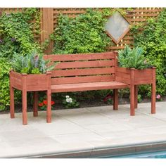 Leisure Season W x H Medium Brown Wood Planter Bench at Lowe's. Wooden bench with backrest and two planter boxes enhance the look of your deck, porch or garden. Own your garden because finally there's seating Bar Outdoor, Outdoor Garden Bench, Patio Swing, Patio Bench, Backyard Patio, Backyard Landscaping, Outdoor Decor, Outdoor Living, Outdoor Benches