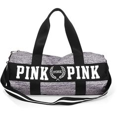 PINK Gym Duffle ($33) ❤ liked on Polyvore featuring bags, luggage, purses, accessories et black