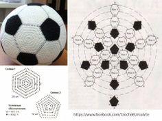Balón croché Marque-pages Au Crochet, Crochet Ball, Crochet Amigurumi, Crochet Motifs, Crochet Diagram, Crochet Granny, Amigurumi Patterns, Crochet For Kids, Crochet Crafts