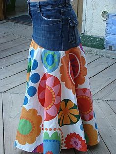 Would LOVE to repurpose jeans into a skirt with a bright pattern at the bottom. Would LOVE to repurpose jeans into a skirt with a bright pattern at the bottom. Diy Clothing, Sewing Clothes, Modest Clothing, Modest Outfits, Skirt Outfits, Summer Outfits, Dress Patterns, Sewing Patterns, Denim Ideas