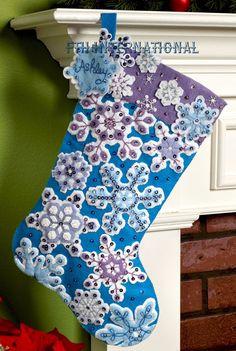 "Bucilla Snowflake ~ 18"" Felt Christmas Stocking Kit #86184 Blue & White, Snow #Bucilla"