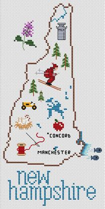 Sue Hillis New Hampshire Map - Cross Stitch Pattern. Model to be stitched on your choice fabric using DMC floss. Stitch count 65 x Cross Stitch Love, Cross Stitch Designs, Cross Stitch Patterns, Cross Stitching, Cross Stitch Embroidery, State Crafts, Crochet Humor, State Map, Plastic Canvas Patterns