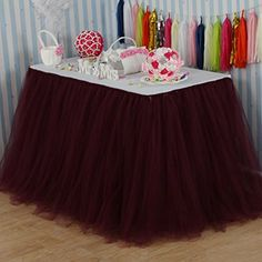 vLovelife Black Tulle Tutu Table Skirt Tableware TableCloth Party Baby Shower Birthday Wedding Decorations Favor Customized Size Available Tutu Table, Tulle Table Skirt, Baby Table, Table Skirts, Pink And Gold Decorations, Diy Baby Shower Decorations, Wedding Decorations, Baby Shower Table Cloths, Burgundy Baby Shower