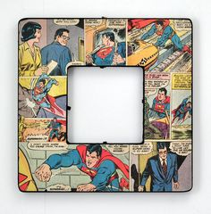 Decoupaged Comic Book Frame. Hubby would love this.