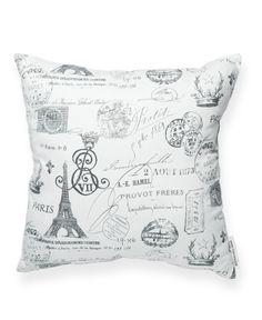 Paris Pattern Black & White Throw Pillow