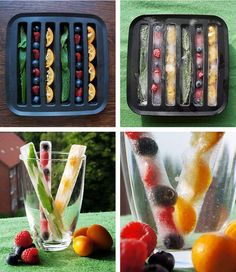23 Colourful and Tasty Ice Cube Ideas - Obst Fancy Drinks, Summer Drinks, Flavored Ice Cubes, Fruit Ice Cubes, Ice Cube Trays, Ice Cube Recipe, Cocktail Party Food, Flavor Ice, Fruit Infused Water