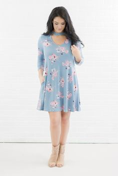 Floral Print Dress- Pretty Blue Flower Dress- $38- Juliana's Boutique